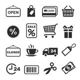 Shopping Icon Set. Shopping Icon black and white Set. Vector stock illustration