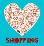 Shopping Icon set filled heart- Illustration Royalty Free Stock Photo
