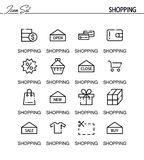Shopping icon set. Shopping flat icon set. Collection of high quality outline symbols for web design, mobile app. Vector thin line icons or logo of shopping Stock Images