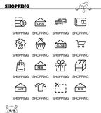 Shopping icon set. Shopping flat icon set. Collection of high quality outline symbols for web design, mobile app. Vector thin line icons or logo of shopping Stock Photo