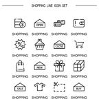 Shopping icon set. Shopping flat icon set. Collection of high quality outline symbols for web design, mobile app. Vector thin line icons or logo of shopping Stock Image