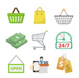 Shopping icon set, flat style. Shop icons collection isolated on white background. Store objects and items. Vector Stock Image