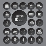 Shopping icon set gray. Vector collection for web Stock Photography