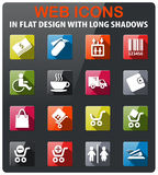 Shopping icon set. Shopping icons set in flat design with long shadow Royalty Free Stock Photography