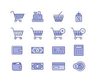 Shopping icon set. Shopping and icons for online store website. Digital payments. Linear vector icon set Stock Photos