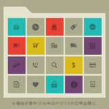 Shopping icon set. Multicolored square flat Stock Image
