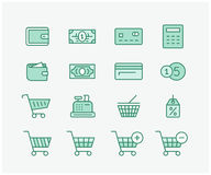 Shopping icon set. Online store website shopping cons and digital payment symbols. Linear vector icon set Royalty Free Stock Photography