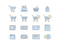 Shopping icon set. Online store icons. Linear vector illustration Stock Photos
