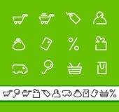 Shopping icon set. Simple symbols of commerce end shopping. Vector illustration Stock Photo
