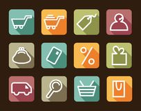 Shopping icon set. Simple symbols of commerce end shopping. Vector illustration Royalty Free Stock Image