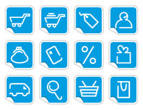 Shopping icon set on stickers Royalty Free Stock Photos