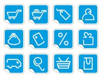 Shopping icon set on stickers Stock Images