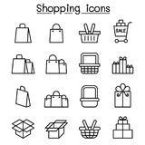 Shopping icon set in thin line style. Vector illustration graphic design Stock Images