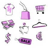 Shopping icon set vector. Shopping and e-commerce hand draw icon set + vector eps file Stock Photos