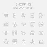 Shopping icon set. Vector dark grey icon isolated on light grey background stock illustration
