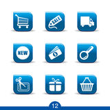 Shopping icons 12..smooth series. Set of nine shopping web icons from series Stock Image