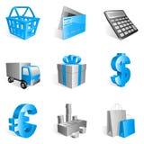 Shopping icons. Set of 9 blue shopping icons Stock Illustration