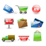 Shopping icons. Vector illustration of useful shopping icons Stock Illustration