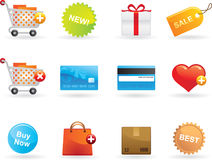 Shopping icons. Set. Vector illustration Royalty Free Stock Photo
