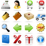 Shopping icons. Collection of colorful shopping icons for internet shops Stock Photography