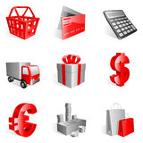 Shopping icons. Set of 9 red shopping icons Royalty Free Stock Photos