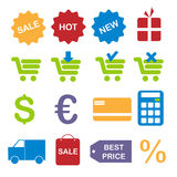 Shopping icons. Set of sixteen colorful shopping icons isolated on white background.EPS file available vector illustration