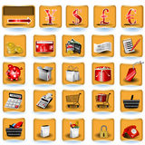Shopping icons. A collection of color shopping icons placed on brown buttons Stock Illustration