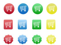 Shopping icons. Colorful shopping icons of shopping cart in red, blue, green and yellow color Stock Photo