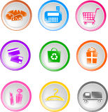 Shopping icons. Set of glossy shopping icons Stock Photography