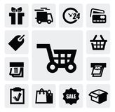 Shopping icons. Vector black shopping icons on gray background Stock Photography