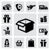 Shopping icons. Vector black shopping icons on gray background Royalty Free Stock Images