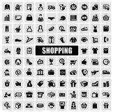 Shopping icons. Vector black shopping icons on gray background Royalty Free Stock Photo