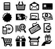 Shopping icons. Vector black shopping icons set on gray Stock Photos