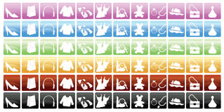 Shopping Icons. 6 set of shopping icons and accessories Stock Photos