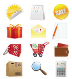 Shopping Icons. Detailed shopping objects. Vector/eps8 Stock Images