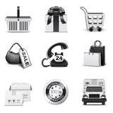 Shopping icons | B&W series. Set of 12 Shopping icons Royalty Free Stock Photos