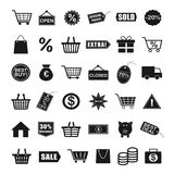 Shopping Icons. Black Shopping Icons for Business Stock Photography