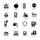 Shopping Icons black with reflection Royalty Free Stock Photos