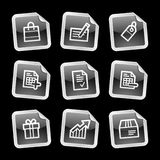 Shopping icons, black sticker Royalty Free Stock Photos