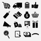 Shopping icons. Black Shopping icons vector eps10 Royalty Free Stock Images