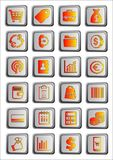 24 shopping icons or buttons, commerce. 24 multimedia icons or bright pink and silver buttons, metal effect Stock Photos