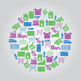 Shopping icons in circle Stock Photo