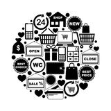 Shopping icons in circle Royalty Free Stock Photos