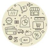 Shopping icons cirle set. Thin line. Stock Photo