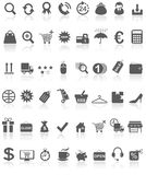 Shopping Icons Collection Black On White Royalty Free Stock Photos