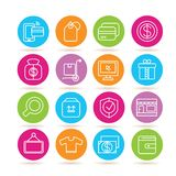 Shopping icons. Collection of 16 shopping icons in colorful buttons vector illustration