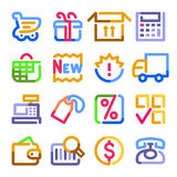 Shopping icons. Color contour series. Stock Images