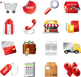 Shopping icons detailed  set Stock Photo