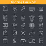Shopping Icons. 25 shopping or e-commerce line icons Stock Image