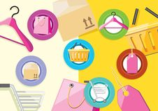 Shopping icons elements bag tag hanger Royalty Free Stock Photos